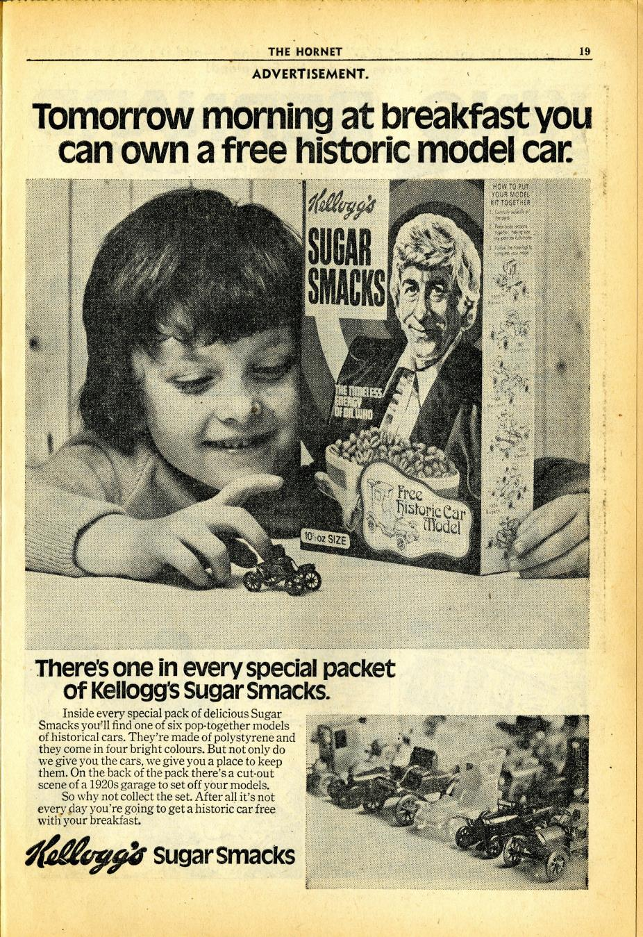 Ad. for Kellog's Sugar Smacks historic car models promotion, in Hornet no. 447, 1 April 1972