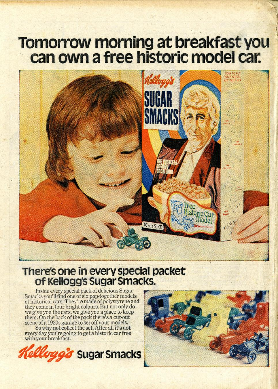 Ad. for Kellog's Sugar Smacks historic car models promotion, in Lion and Thunder, 18 March 1972