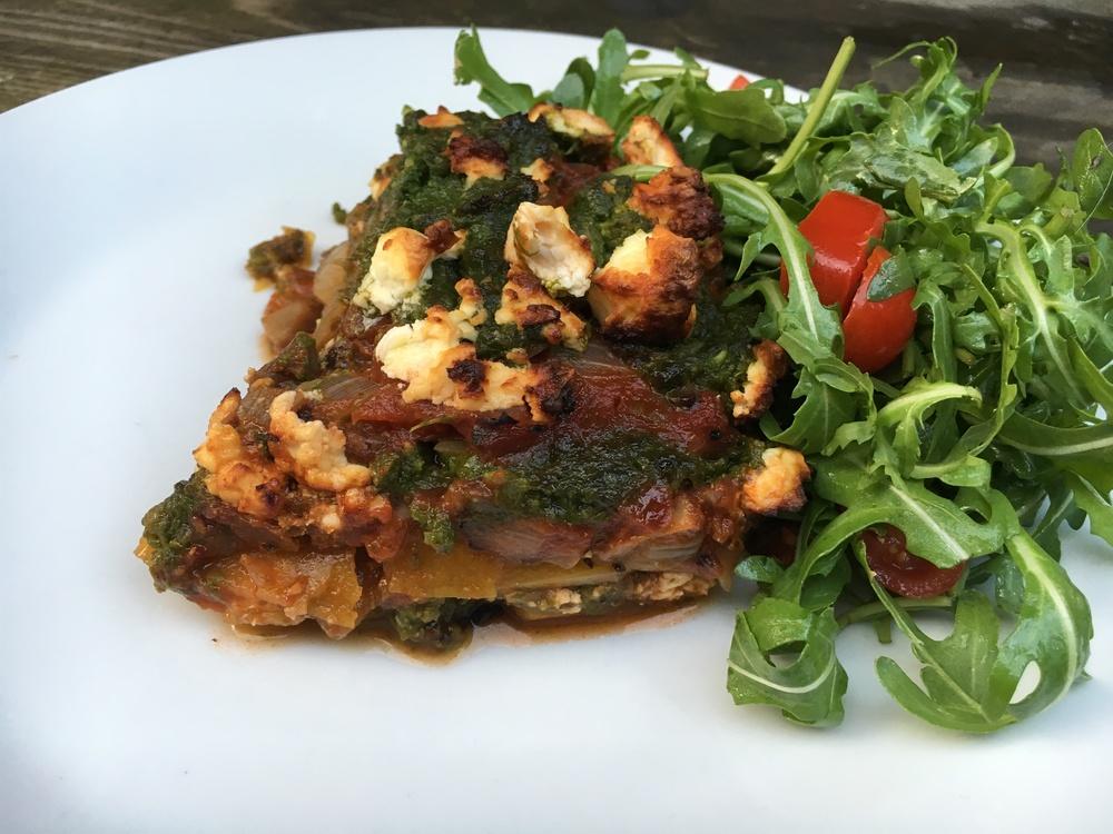 Veggie lasagne portion.JPG