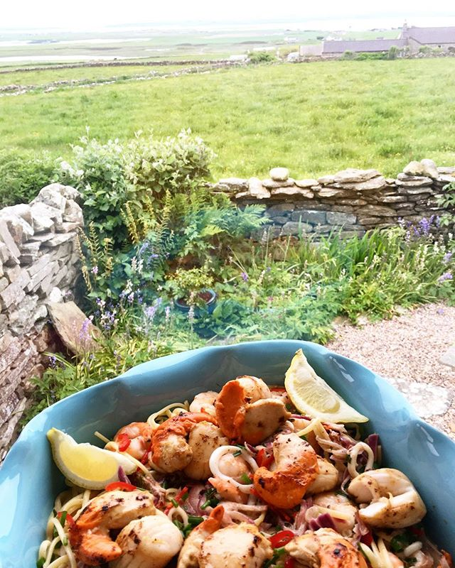 Cooking for the in laws! Orkney scallop, king prawn & squid linguine. #orkneyislands