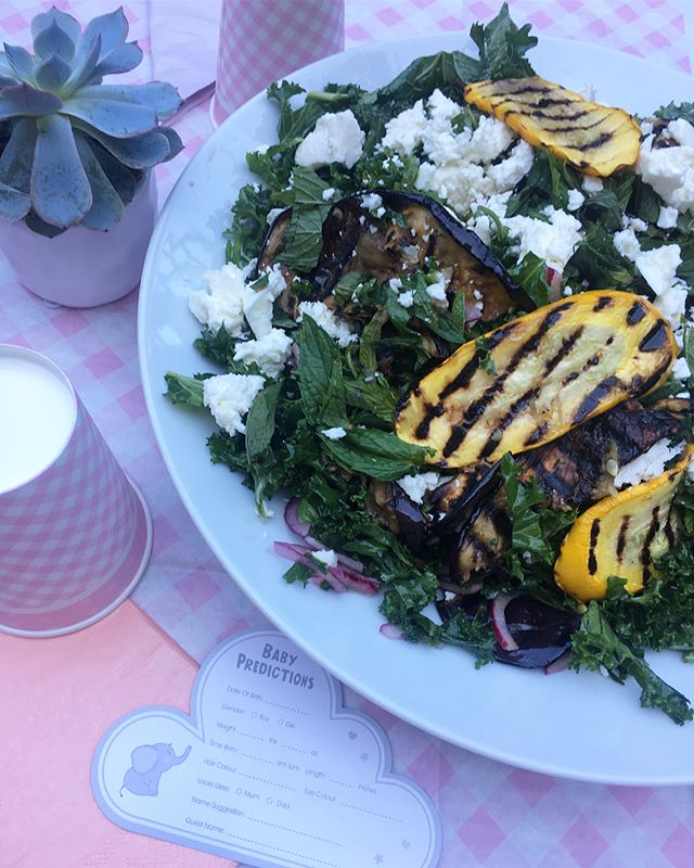 Summery salads and a surprise baby shower! Loving rustling up food again in a proper kitchen rather then our London garage flat!  Chargrilled aubergine and yellow courgette with mint, feta and kale. Quinoa with griddled asparagus, pistachios, cumin roasted squash, coriander and pomegranate. Thanks to these mega babes for the dreamiest of days @claireverlander @mrsalisonharmon @katesanger @claireverlander #32weeks #shitsgettingreal