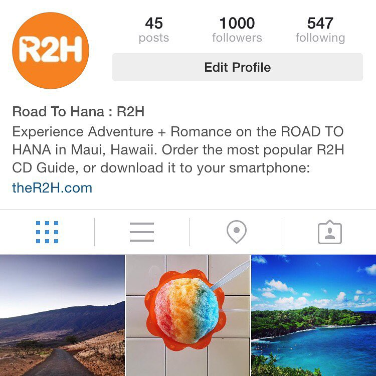 1,000 Followers! Lots of love for Maui & @road2hana out there! Tag us with your photos & we may re-post or share your adventure on our blog. #hawaii #maui #ther2h #roadtohana #travel #roadtrip #paradise