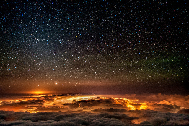 Night of wonder = on top of Haleakala 10,000 feet above sea level (and above the clouds too)