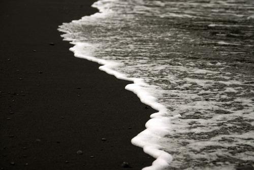 Black and White. Sand and Sea Foam. Wai'anapanapa State Park. Road to Hana Maui.