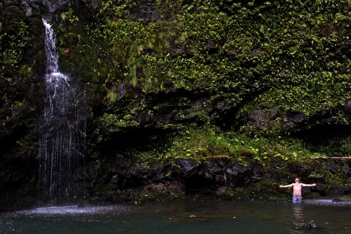 Alone in a waterfall. Road to Hana. #maui #adventure #romance