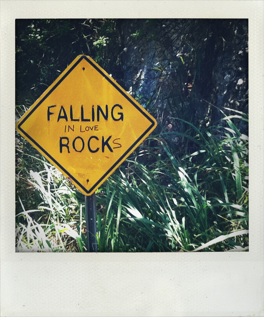 Sign on the Road to Hana. FALLING (in love) ROCK(s)