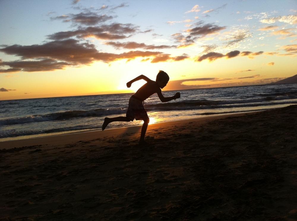 Running through the sunset in Kihei!