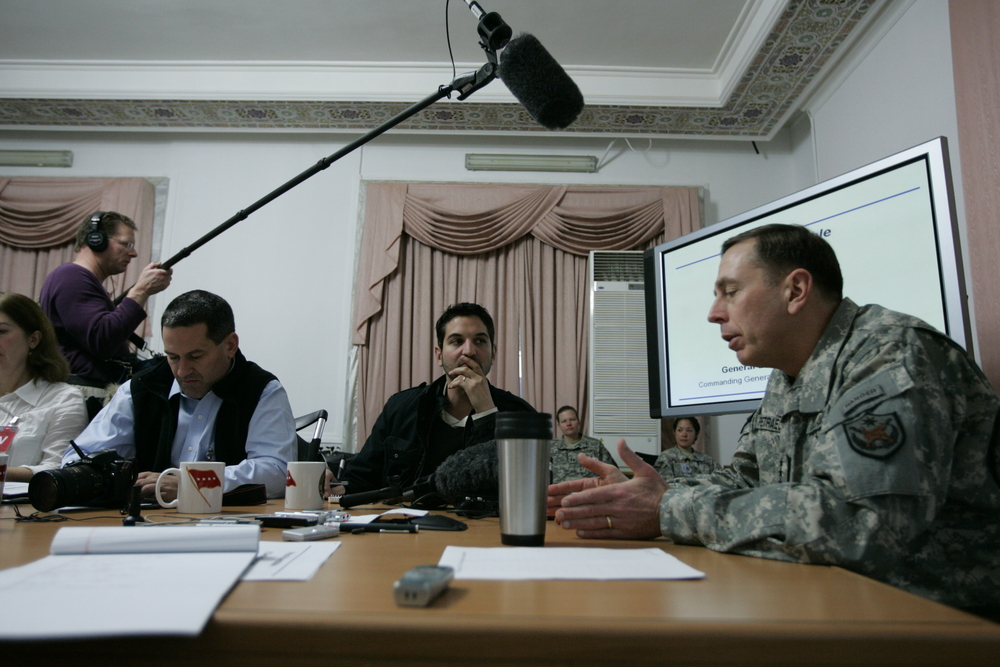 Guy with General David   Petraeus in Baghdad 2007