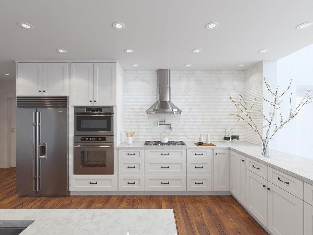 white kitchen just home