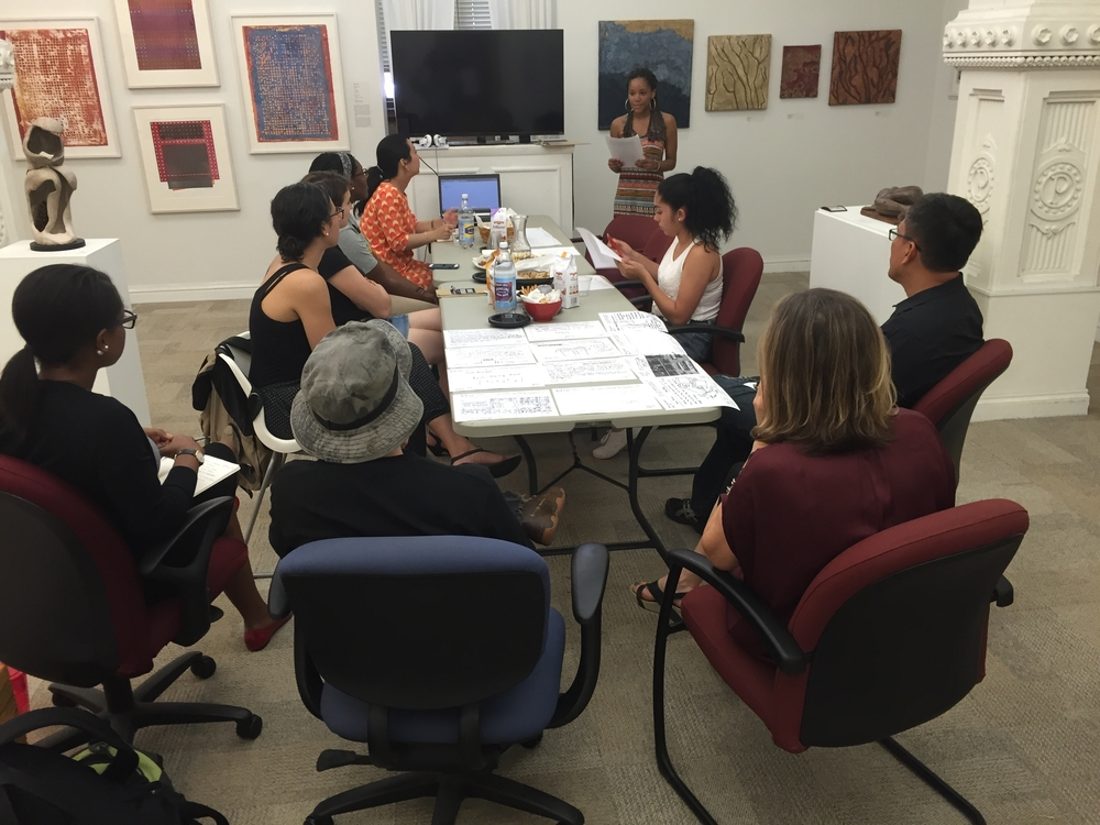 Monument Lab Research Interns meet with members of the City of Philadelphia's Office of Arts, Culture, and Creative Economy staff at City Hall in July 2015.