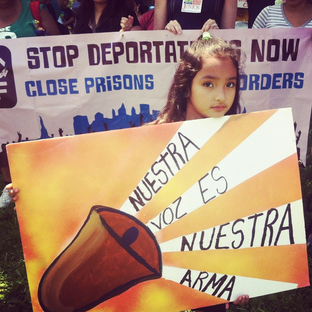 Berks Protest , 2016. Signs made with Juntos community members. Courtesy of the artist.