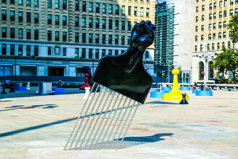 All Power to All People   Hank Willis Thomas  Born in 1976 • American • Based in New York City Aluminum and stainless steel City Hall/Thomas Paine Plaza   Photo:Conrad Benner/Streets Dept