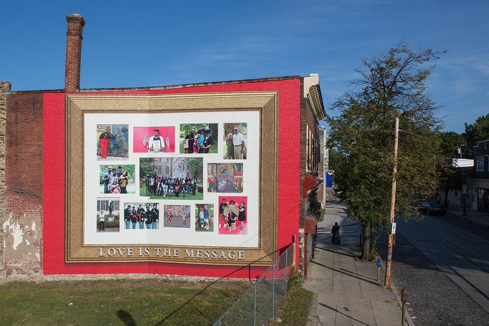 Love Is the Message  Jamel Shabazz Born in 1960 • American • Based in New York City Photographic mural Vernon Park   Photo: Steve Weinik/Mural Arts Philadelphia