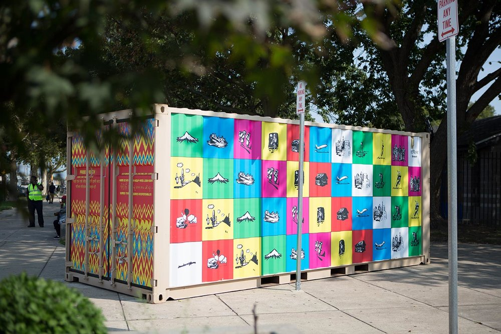Free Speech  Shira Walinsky and Southeast by Southeast Founded in 2011 • Based in Philadelphia Vinyl wrapped kiosk, postcards, t-shirts, books, community zine, videos, bus map, South Philadelphia immigration map, and audio Marconi Plaza   Photo: Steve Weinik/Mural Arts Philadelphia