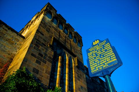 """""""Historic Marker"""" by Jeff Fusco, 2010. Source:  Eastern State Penitentiary image library ,Image Code: BT28"""