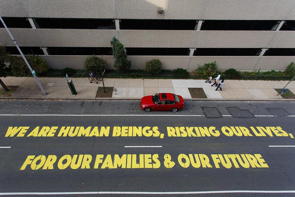 Michelle Angela Ortiz,  Familias Separadas , Open Source 2015 (Steve Weinik/Mural Arts Philadelphia).