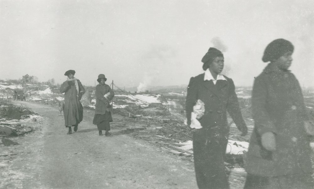 James & Son,  Women Walking from Africville Towards Halifax, on Campbell Road near Hanover Street,  1917. ( Nova Scotia Archives Photo Collection )