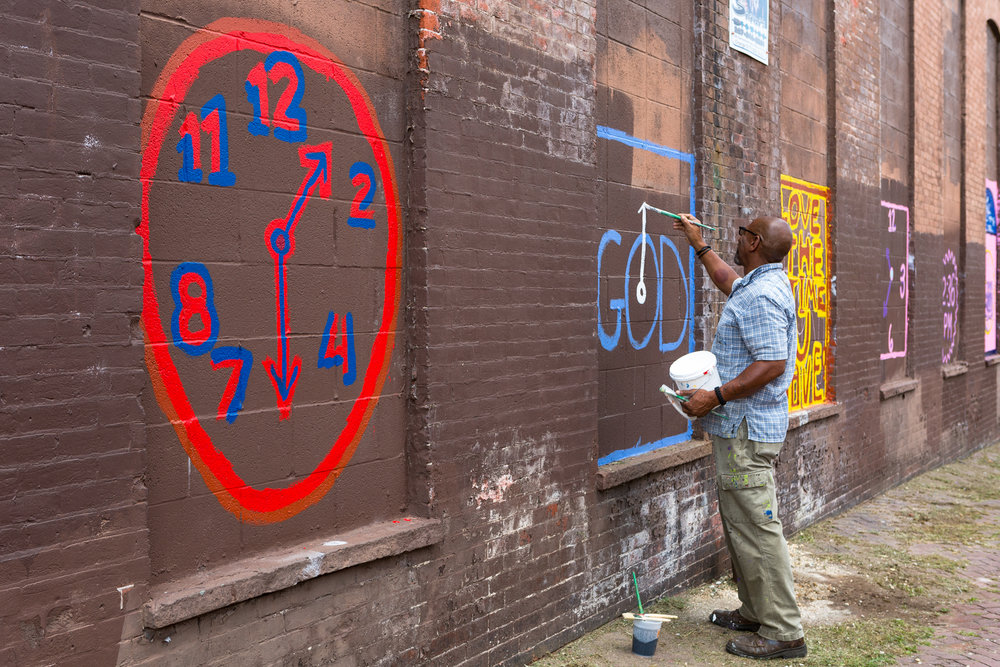 THE TIMES  Tyree Guyton Born in 1955 • American • Based in Detroit Wood, paint, and mixed media Special Project – A Street and Indiana Avenue   Photo: Steve Weinik/Mural Arts Philadelphia