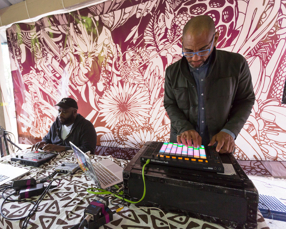Dreams, Diaspora, and Destiny  King Britt and Joshua Mays Born in 1968/1973 • American • Based in Philadelphia/Oakland Sound, light, vinyl panels, and student collaborations Malcolm X Park   Photo: Steve Weinik/Mural Arts Philadelphia