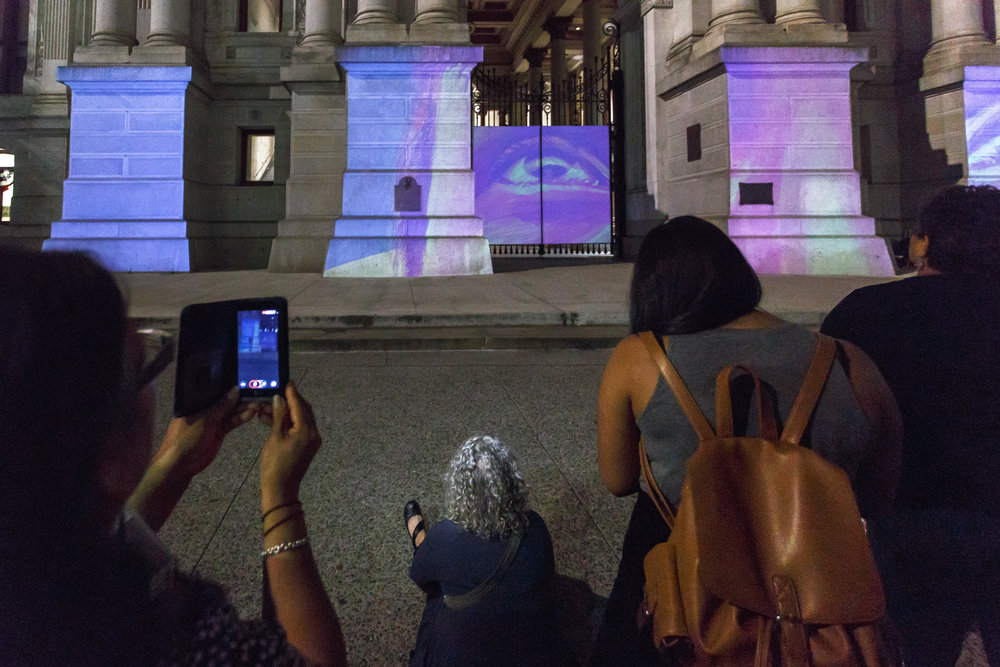 Seguimos Caminando (We Keep Walking)  Michelle Angela Ortiz Animation and projection City Hall   Photo: Steve Weinik/Mural Arts Philadelphia