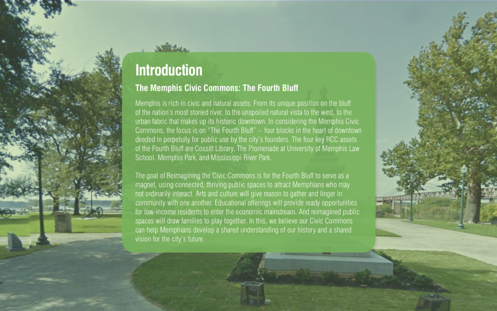 In 2016, when Groundswell issued a report about the redevelopment of the Memphis waterfront, the Jefferson Davis Statue stood. This text box was placed in front of it to hinder its view. ( Memphis Civic Commons Presentation  via  Reimagining the Civic Commons )