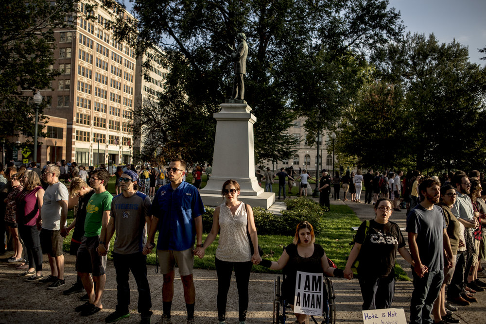 Protests in support of the removal of the Jefferson Davis statue in Memphis Park, Memphis, Tennessee, August 15, 2017. (Photo courtesy of  Andrea Morales )
