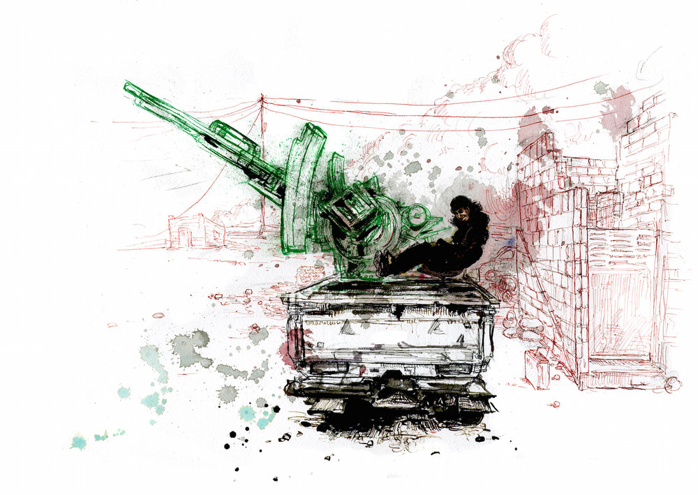 Abu Mujahid, ISIS fighter, with His Mounted Anti-Aircraft Machine Gun , 2016, pen and ink on paper, 16 ¼ x 12 ¼ inches. © Molly Crabapple. (Image courtesy of the artist)