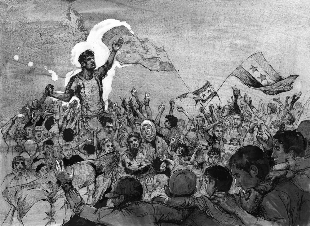 A Protest in 2011 , 2017, pen and ink on paper. 22 1/6 x 29 ¾ inches. © Molly Crabapple. (Image courtesy of the artist)