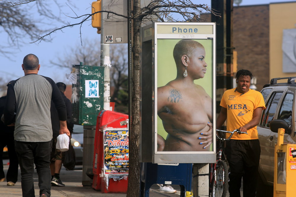 Shaniqwa Jarvis for Art in Ad Places (model: Ericka Hart). (Photo by Luna Park)