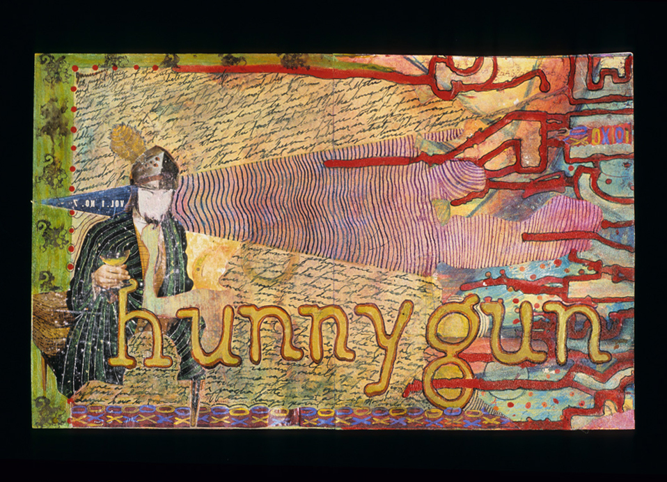 hunnygun, 2004, Mixed media on paper, 10 x 17 inches.