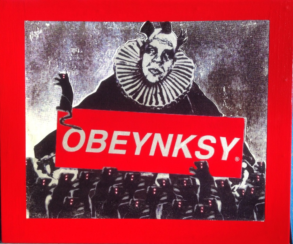 OBEYNKSY , 2015, Mixed media on panel, 13 x 15 1/2 inches.