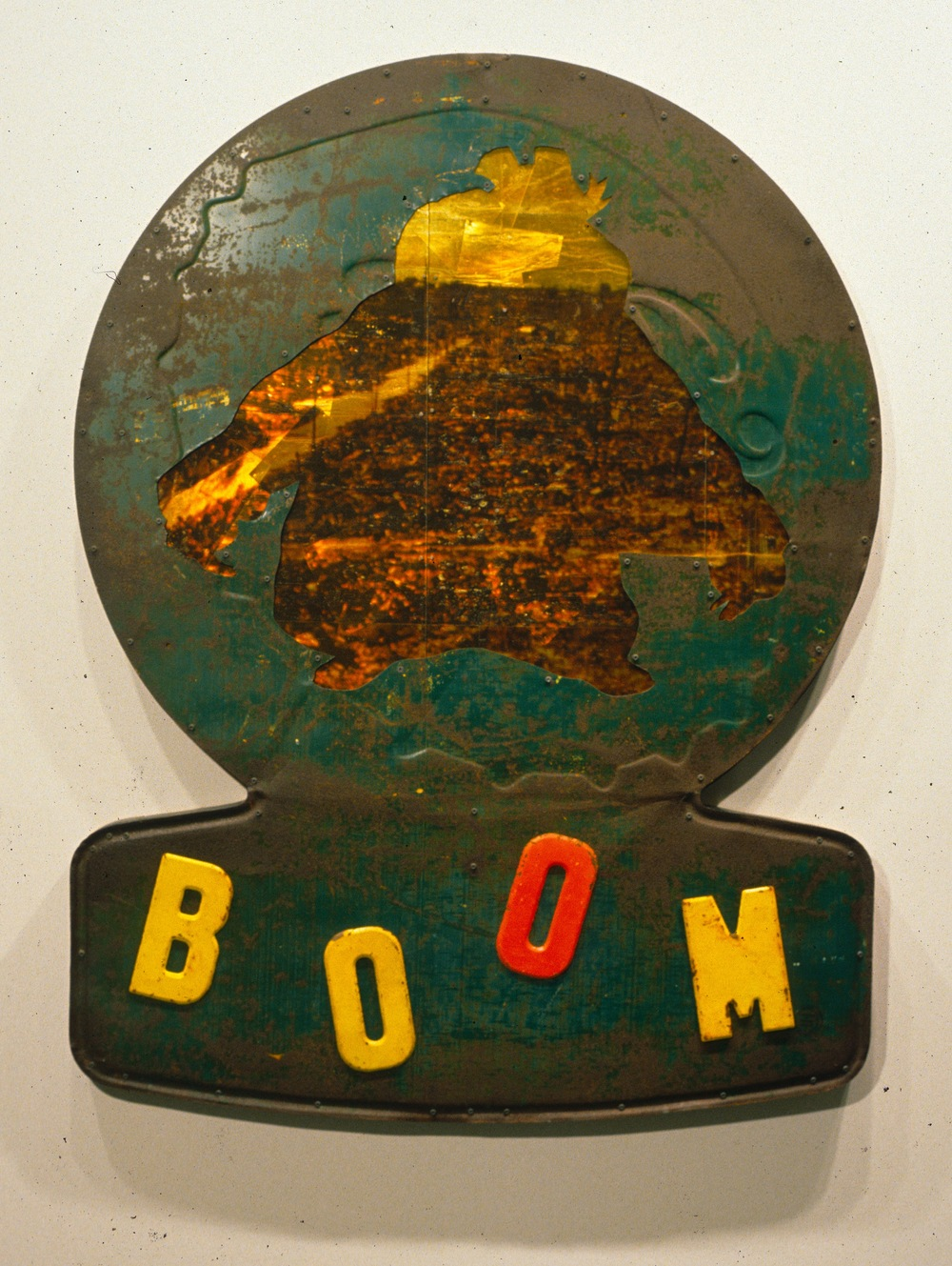 BOOM , 1998, Mixed media on panel, 61 x 40 x 2 1/2 inches.