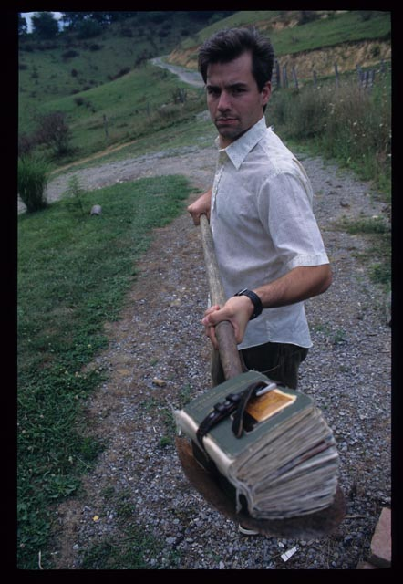 Artist with book in progress, c. 1998.