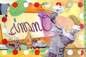 breakfast at Onan's , 2004, Mixed media on paper, 10 x 15 inches. Private collection.