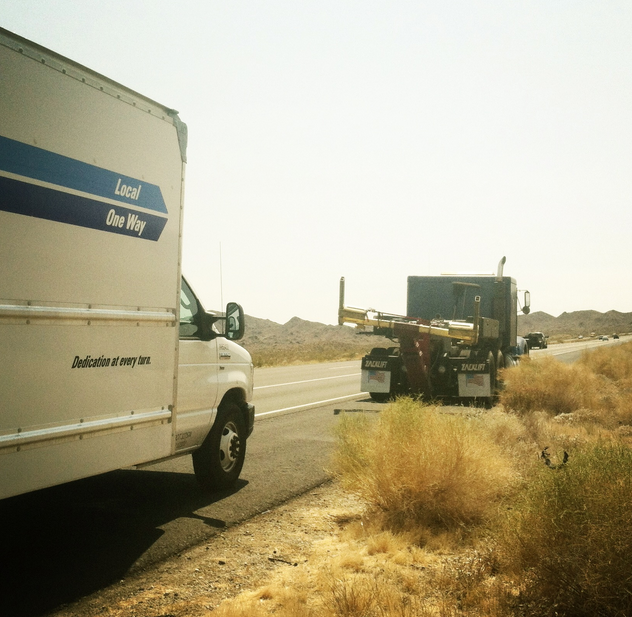 our truck started to billow smoke somewhere outside of needles, ca. also known as the armpit of america.
