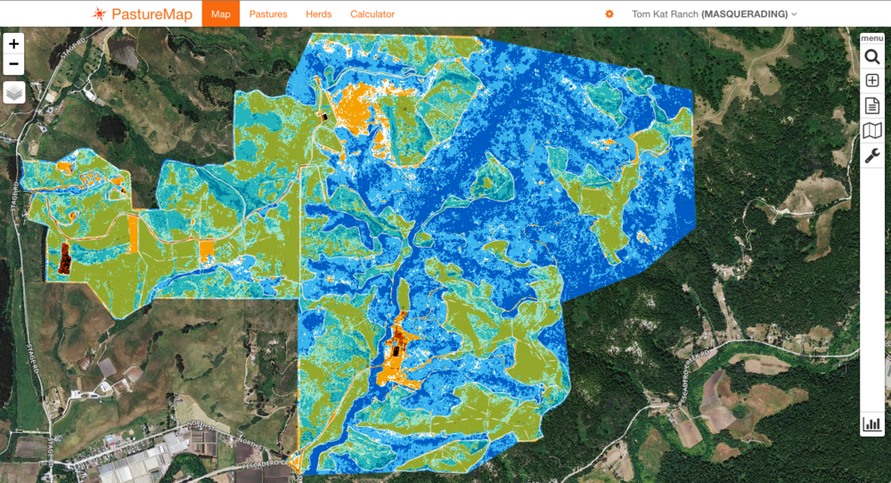 This map displays the ranch by its Normalized Difference Vegetative Index (NDVI). Areas in red are manmade, while green and blue distinguish between different types of vegetative cover.