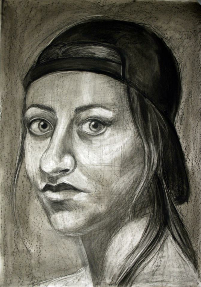 "Self Portrait - charcoal on paper 36"" x 60"""