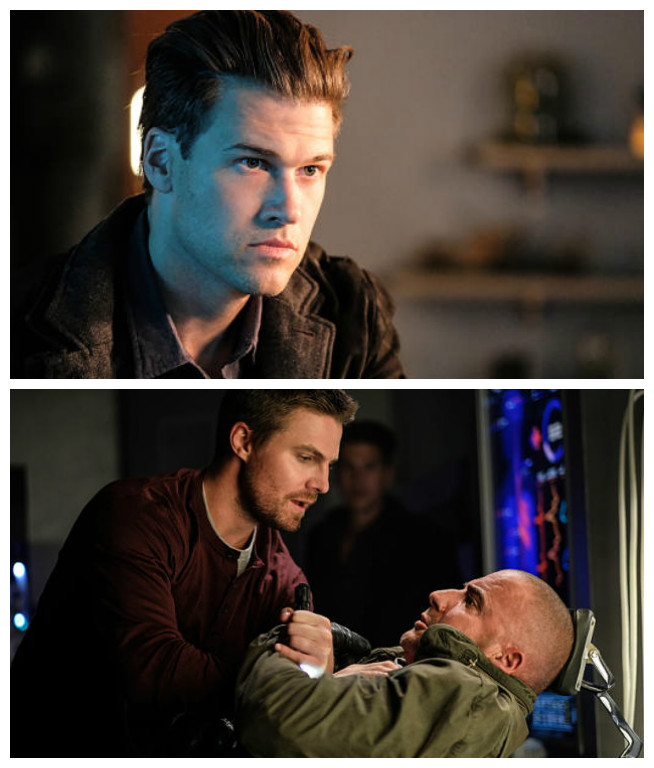 Nathan meets Oliver (top), Nathan and Oliver find Mick on the Waverider (bottom)