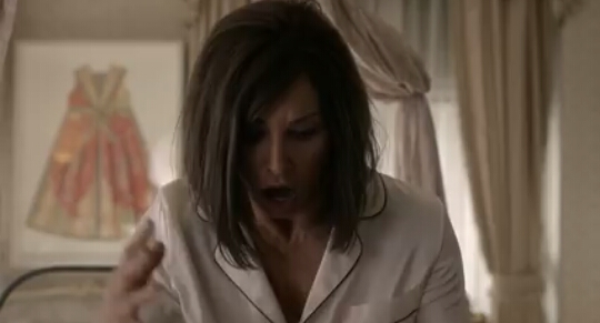 Helene walks into her screaming daughter's room.  Her hair has been cut off.