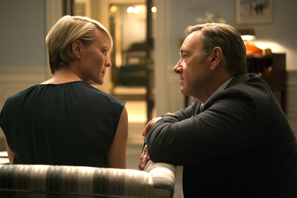 A tender moment between Frank and Claire Underwood (Kevin Spacey, Robin Wright).