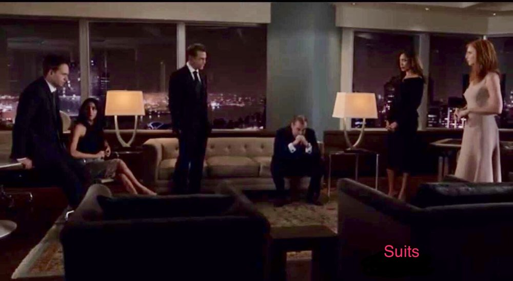 Harvey, Mike, Donna, Rachel, Louis, and Jessica wait for news about Mike's fate on the season 6 finale of Suits.