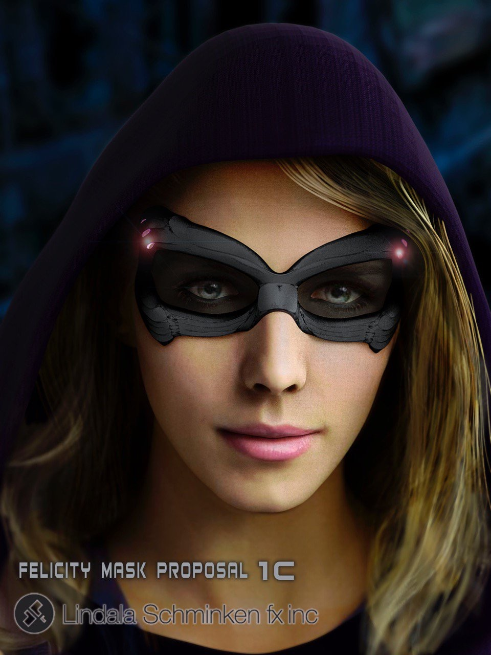 Felicity Smoak mask closeup.