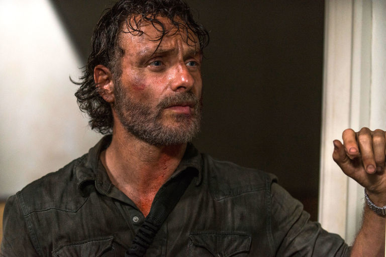 """Actor Andrew Lincoln AKA Rick Grimes. Season 8 Episode 2 """"The Damned""""."""