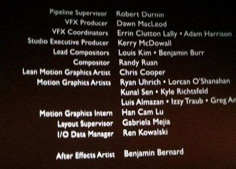 Name in the Credits! Haha!