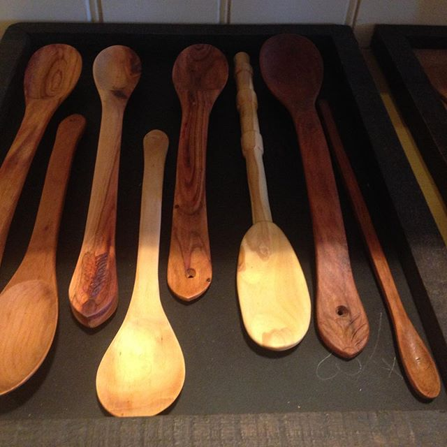 Locally made wooden utensils.