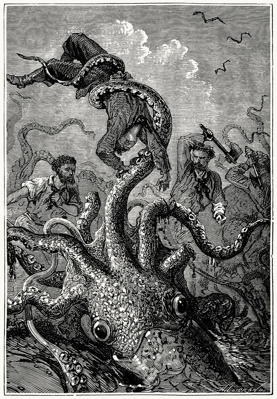 From Vingt mille lieues sous les mers (Twenty Thousand Leagues Under the Seas), by Jules Verne, illustrated by Édouard Riou and Alphonse de Neuville, Paris, 1871.