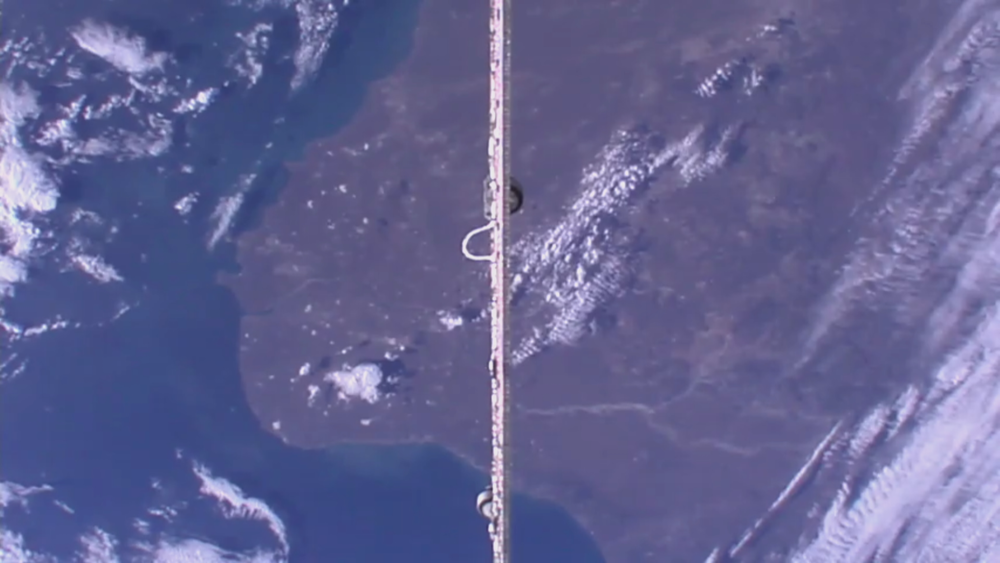 Down camera showing a SpaceX Dragon solar panel