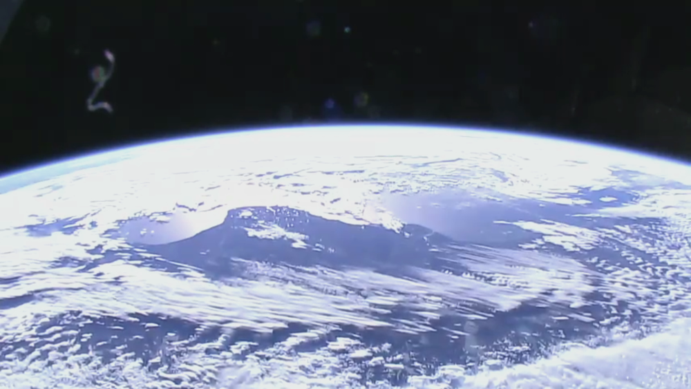 Front-facing camera showing the South Pacific Ocean