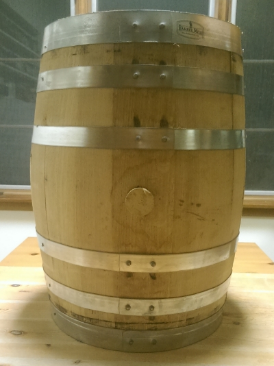 A 10 gallon used corn whiskey barrel from Sons of Liberty Spirits.