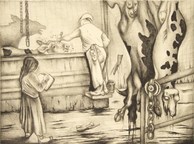 """""""Sue Draws in a Slaughterhouse,"""" Sue Coe, 2011"""